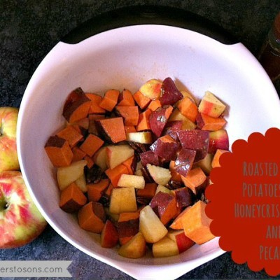 A Simple Fall Sidedish – Roasted Sweet Potatoes with Honeycrisp Apples and Pecans