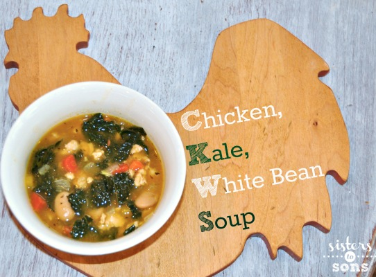 chicken, kale, white bean soup