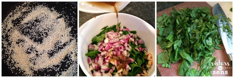 sesame spinach chicken salad