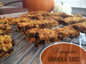 Homemade Pumpkin Chocolate Chip Granola Bars