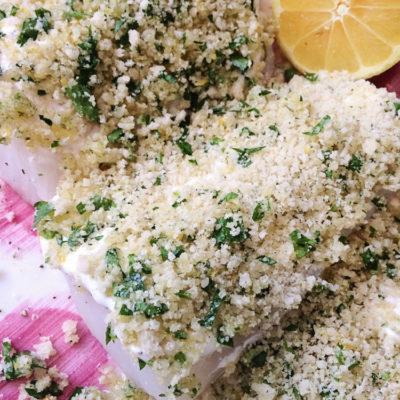 15 Minute Lemon Parmesan Herb Crusted Cod