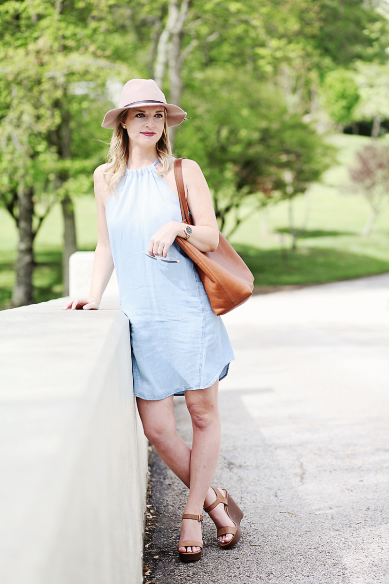 anthropologie halter chambray dress
