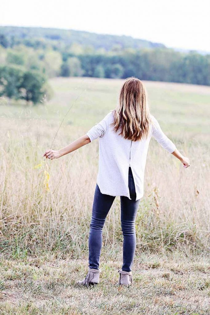 easy fall outfit, free people top