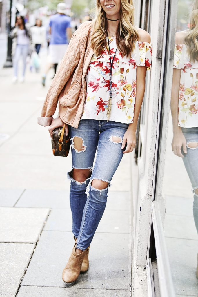 floral top, bomber jacket, ruffles