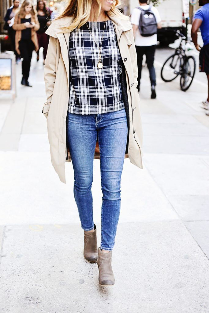 michael kors trench, madewell plaid