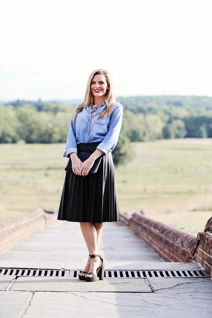 holiday outfit inspiration, j.crew pleated leather skirt