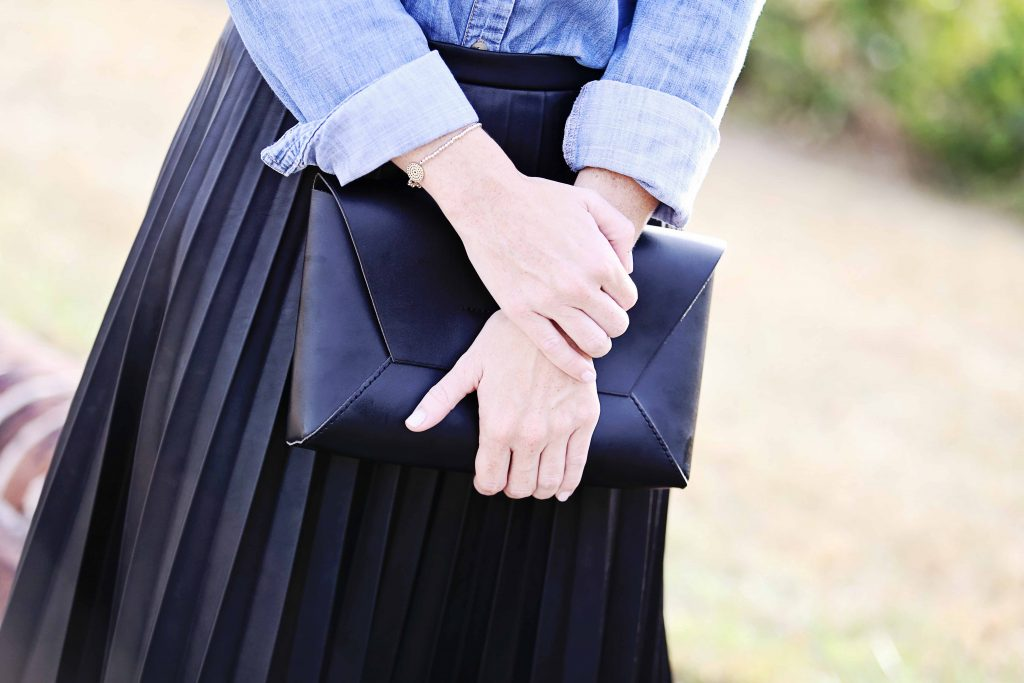 pleated leather skirt, holiday outfit inspiration