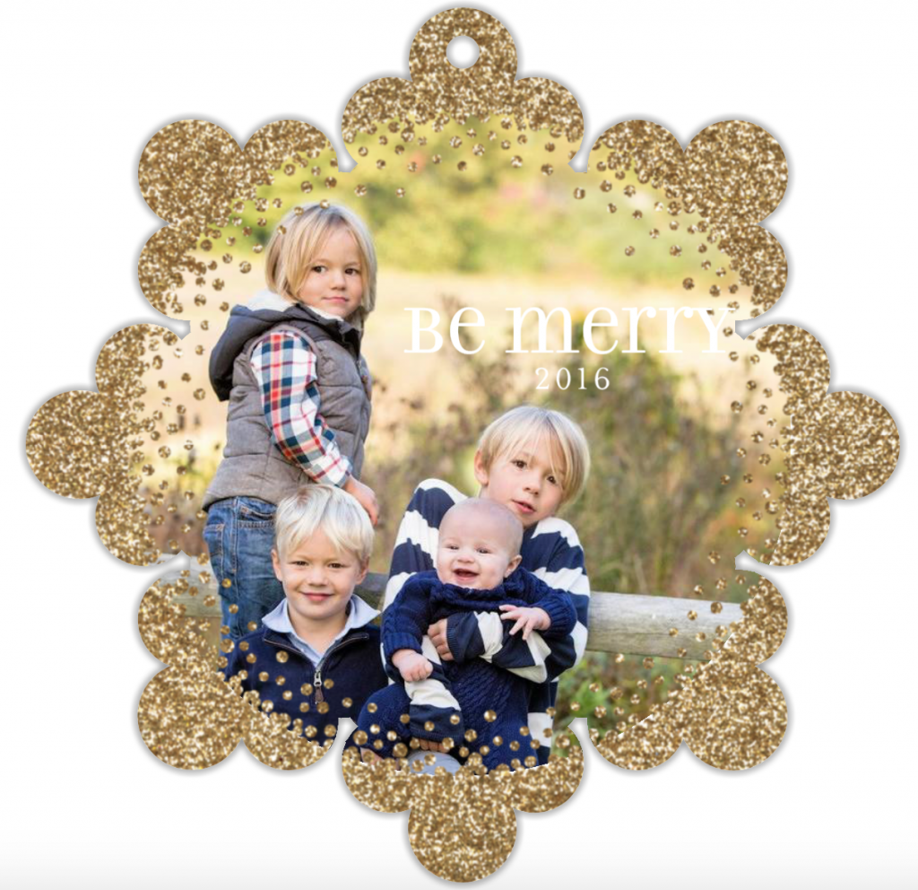 minted holiday greeting ornament card