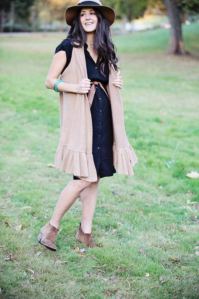 abby of the motherchic wearing anthropologie vest
