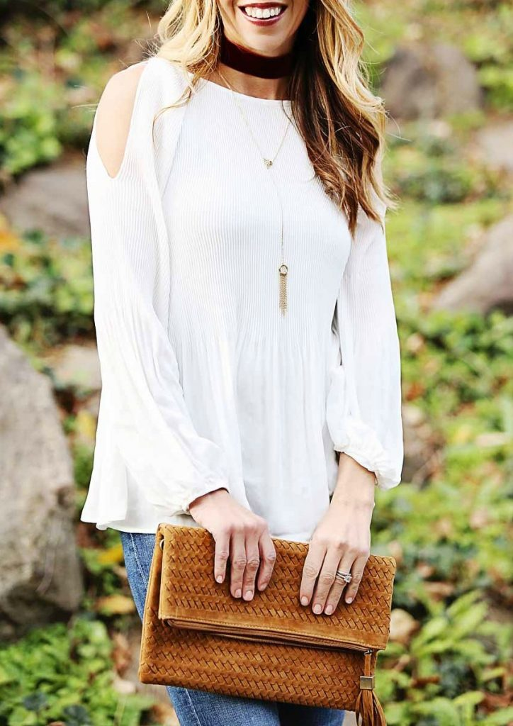 the motherchic wearing cold shoulder top from nordstrom