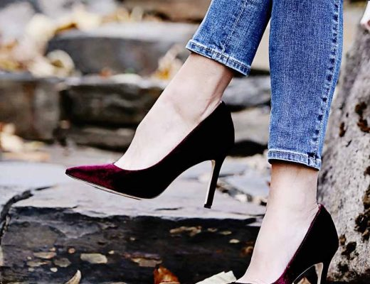 the motherchic wearing sam edelman velvet pumps