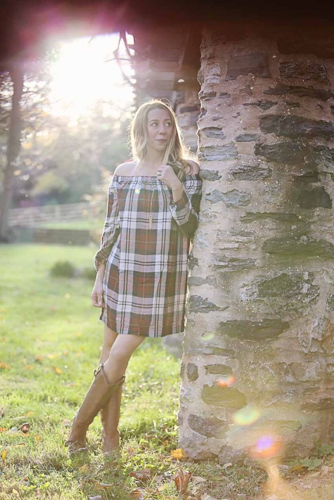 the motherchic wearing anthropologie off the should dress in plaid