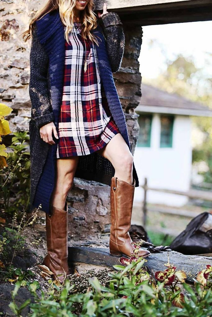 the motherchic wearing plaid anthropologie dress and duster