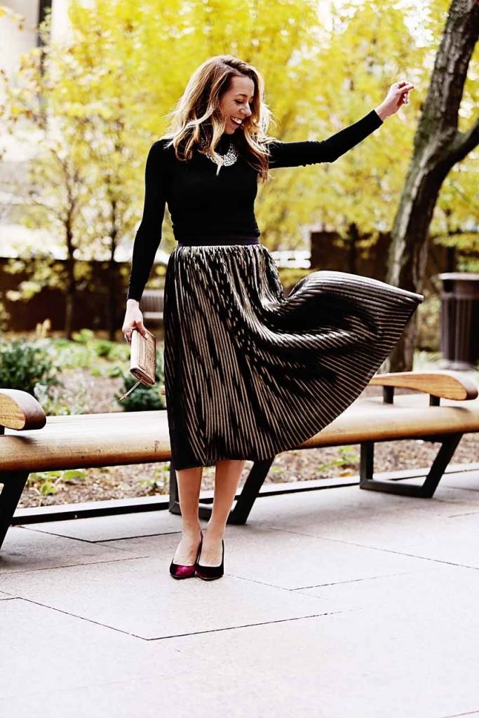 the motherchic wearing trouve metallic midi skirt