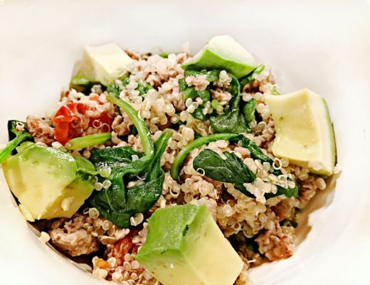 turkey quinoa bowls with spinach and avocado