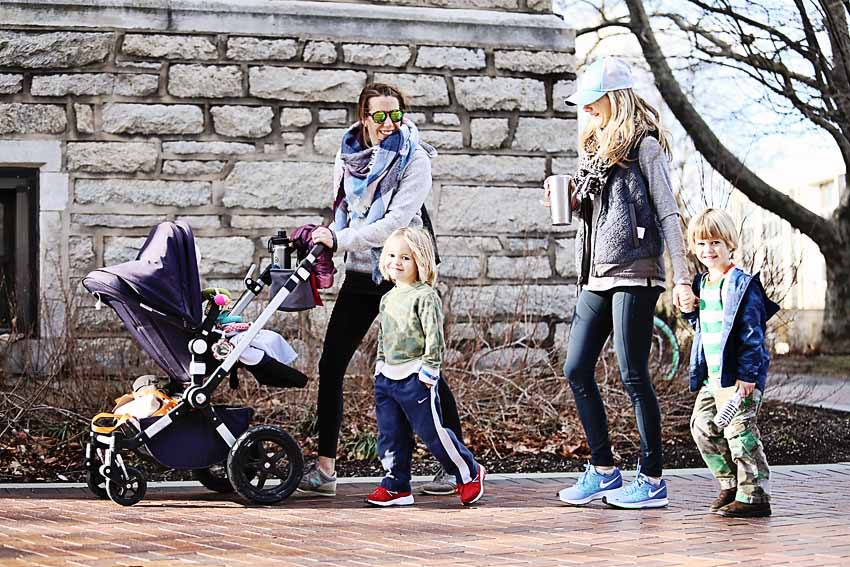 the motherchic pushing a bugaboo stroller