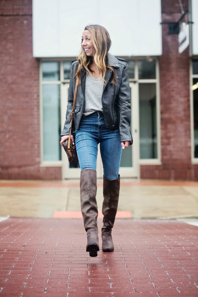 the motherchic wearing BLANK nyc faux leather jacket and over the knee boots