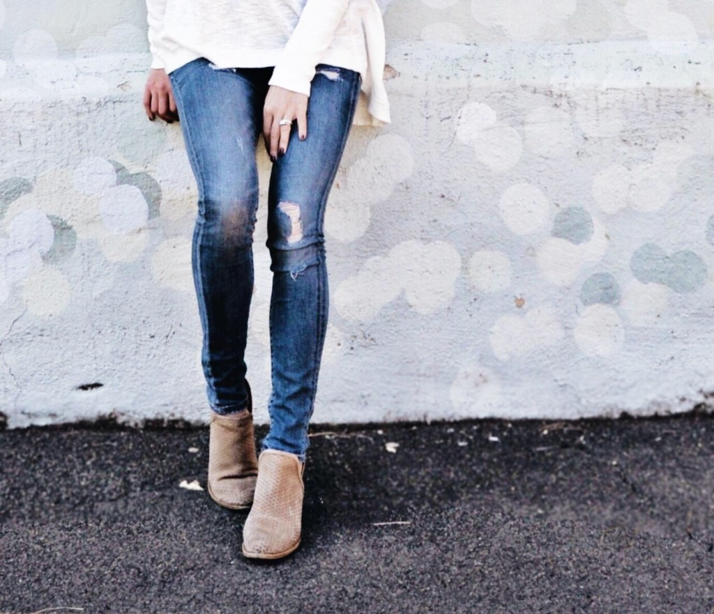 the motherchic wearing blanknyc denim and bashina booties