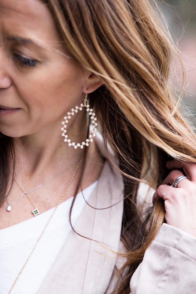 the motherchic wearing sogno earrings