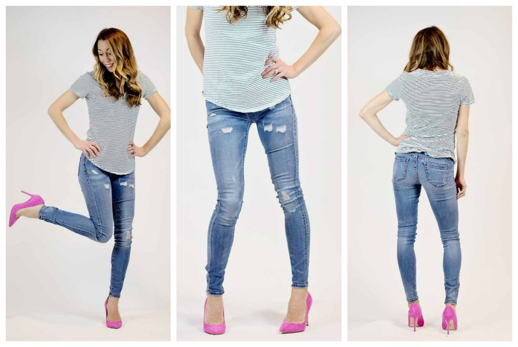 the motherchic wearing blanknyc distressed skinny jeans