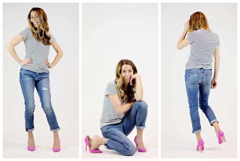 the motherchic wearing gap girlfriend jeans
