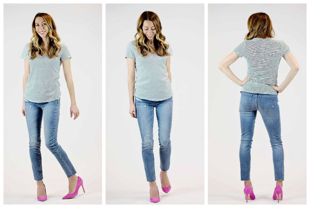 the motherchic wearing gap skinny ankle jeans