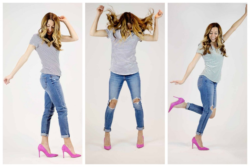 the motherchic wearing levi's distressed skinny jeans