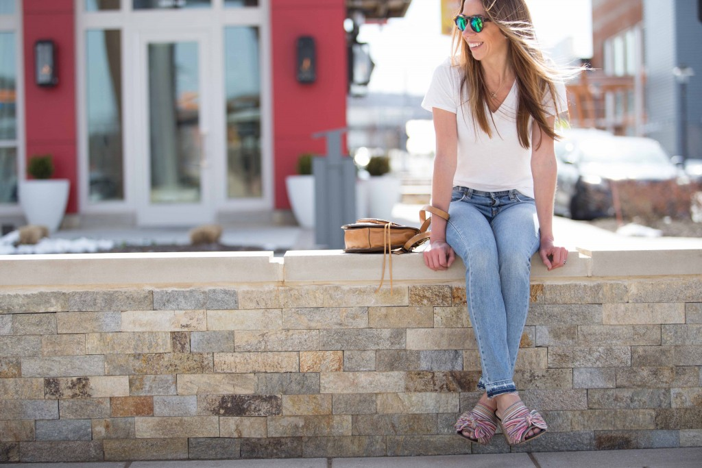 the motherchic wearing sam edelman sandals