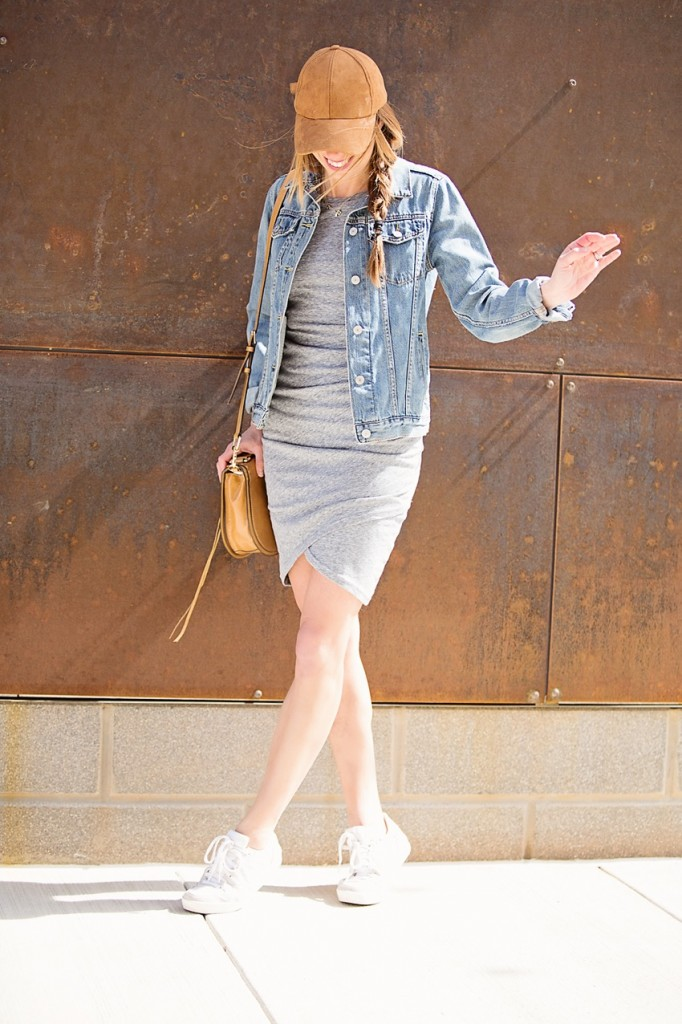 the motherchic wearing tank dress and denim jacket