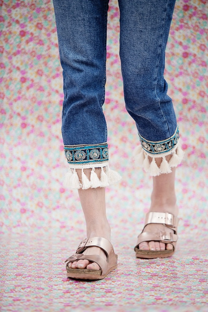 top hop embellished jeans with fringe