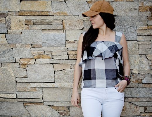 gingham top and white denim