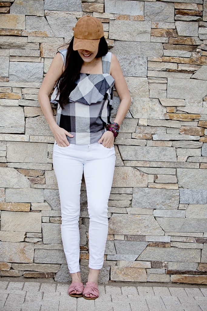 gingham top and white jeans