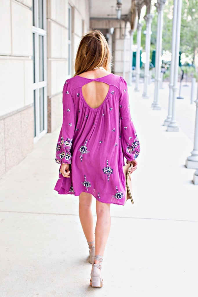 the motherchic wearing free people embroidered breezy dress