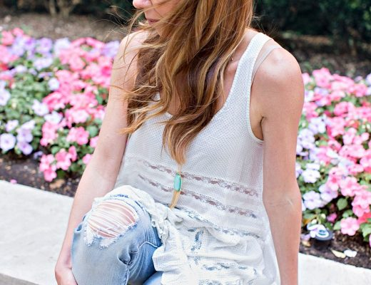 the motherchic wearing free people lace tunic