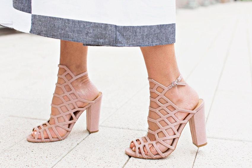 The motherchic wearing express caged sandals