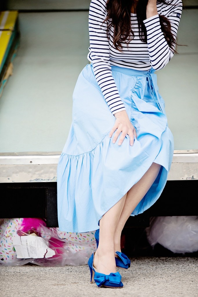 ruffle wrap skirt and striped top