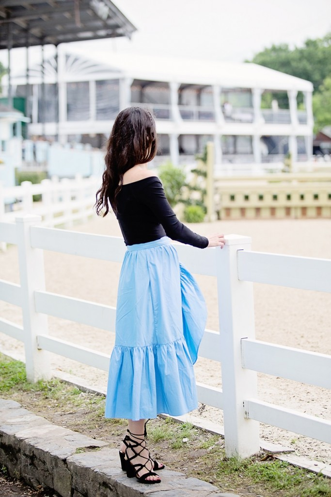 wrap skirt and off the shoulder top
