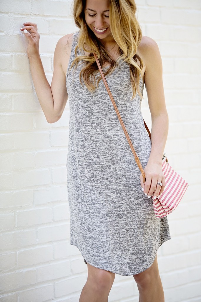 leith tank dress and sole society striped bag