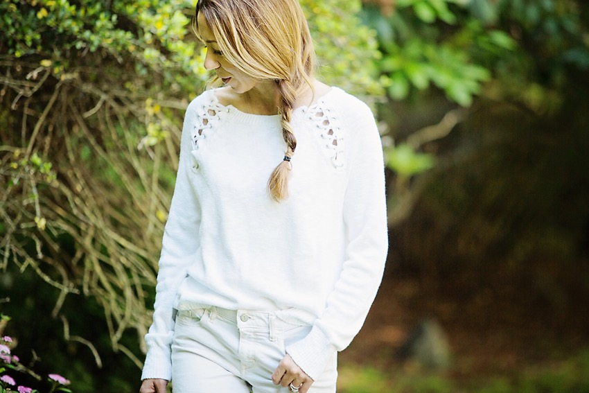 white summer sweater with lace detail by express