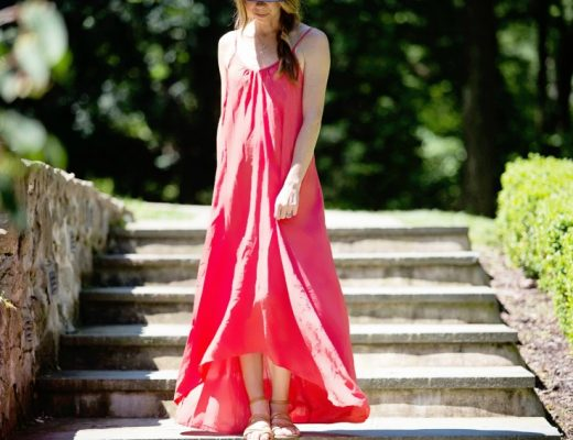 The Motherchic wearing beach cover up maxi dress by Mustard Seed