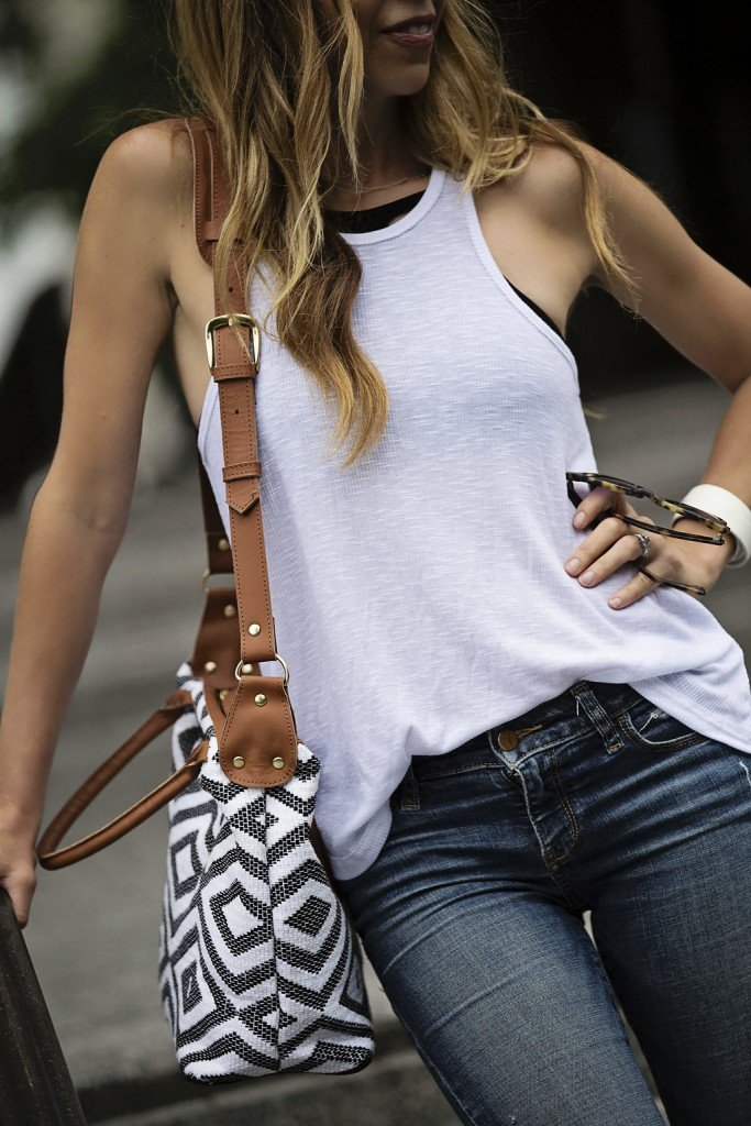 white free people tank and cross body bag
