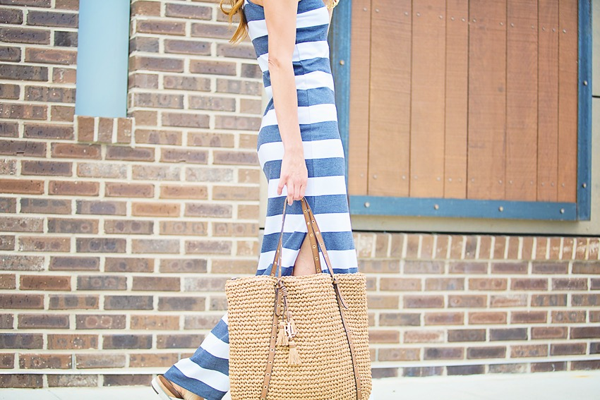 the motherchic wearing striped maxi dress