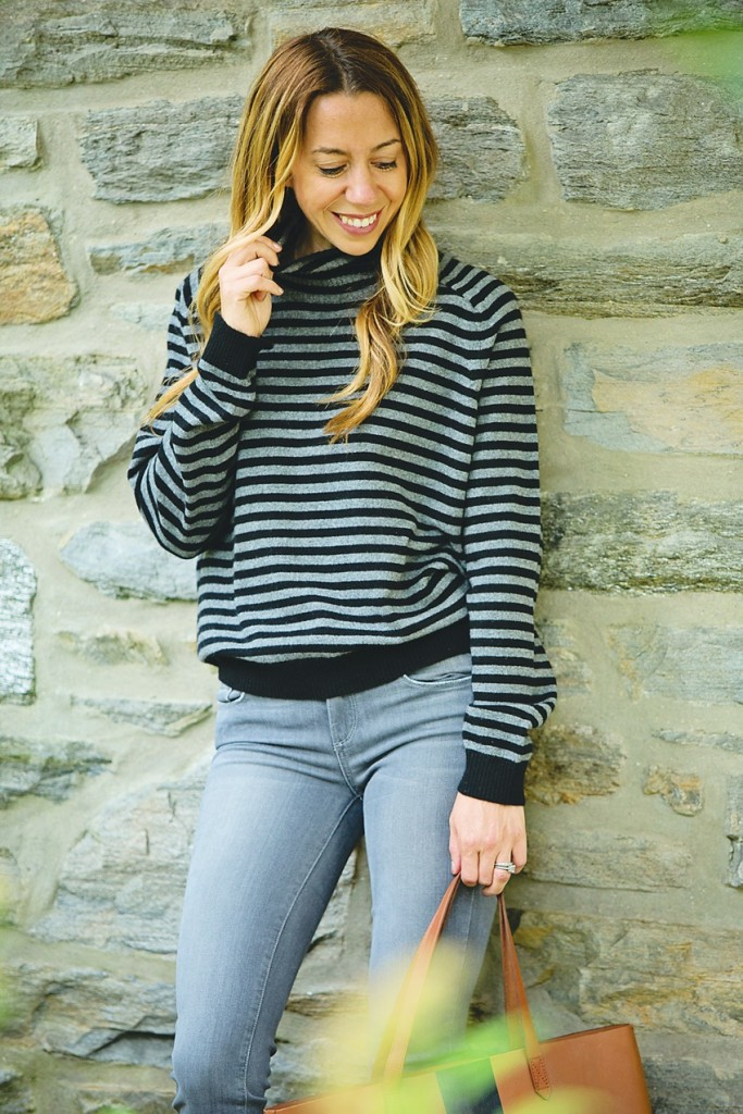 the motherchic wearing vince turtleneck and paige jeans