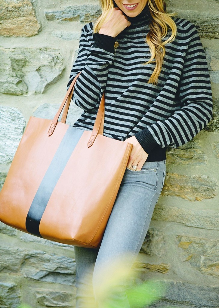 the motherchic wearing vince sweater and madewell tote