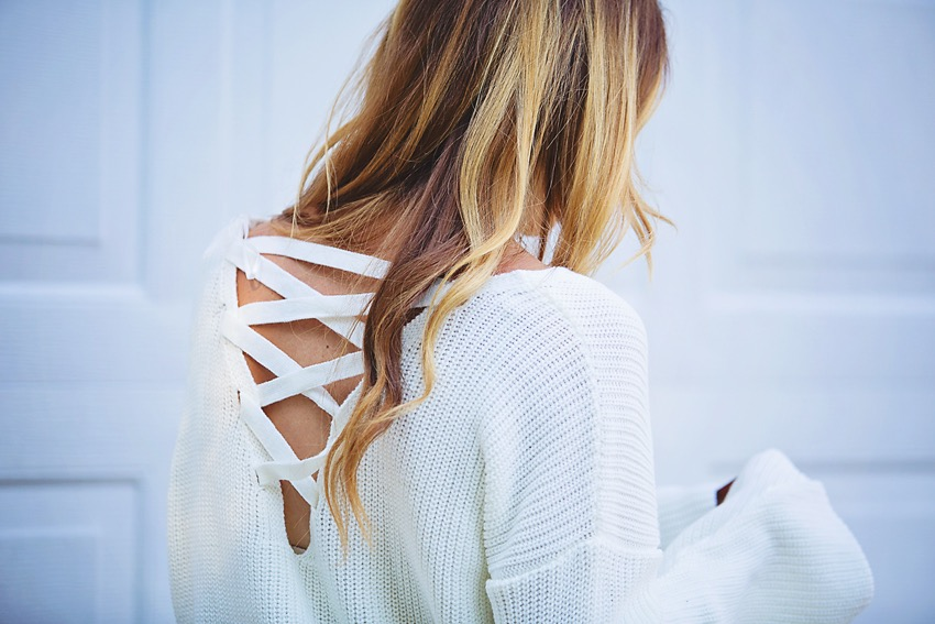 the motherchic wearing topshop lattice back sweater