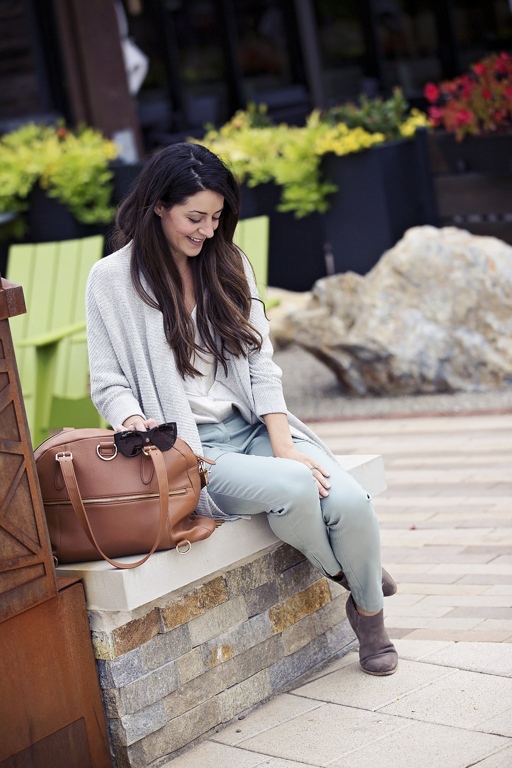 fall outfit: skinny utility pant, shine camisole and madewell cardigan