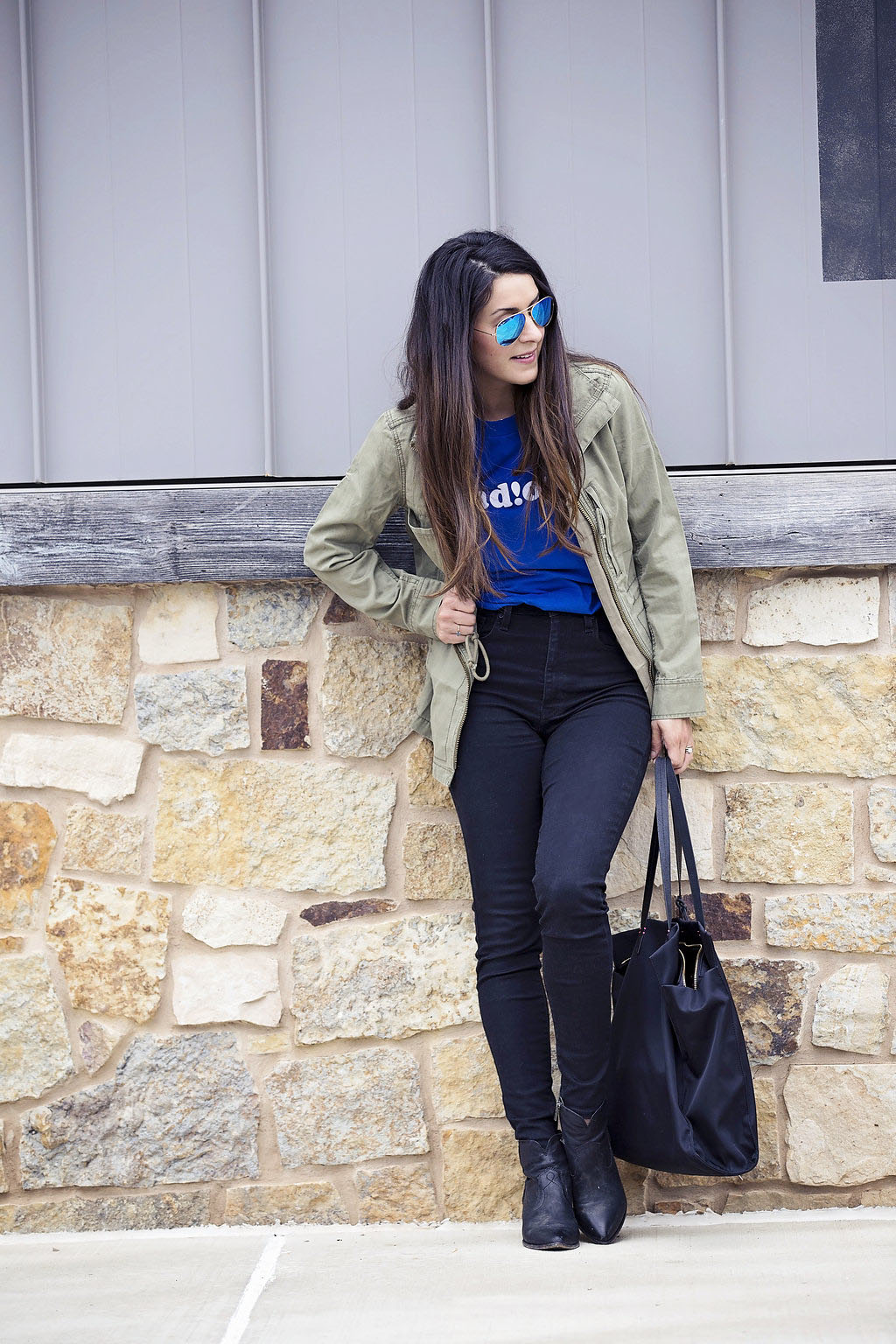 fall trends, military jacket and graphic tee