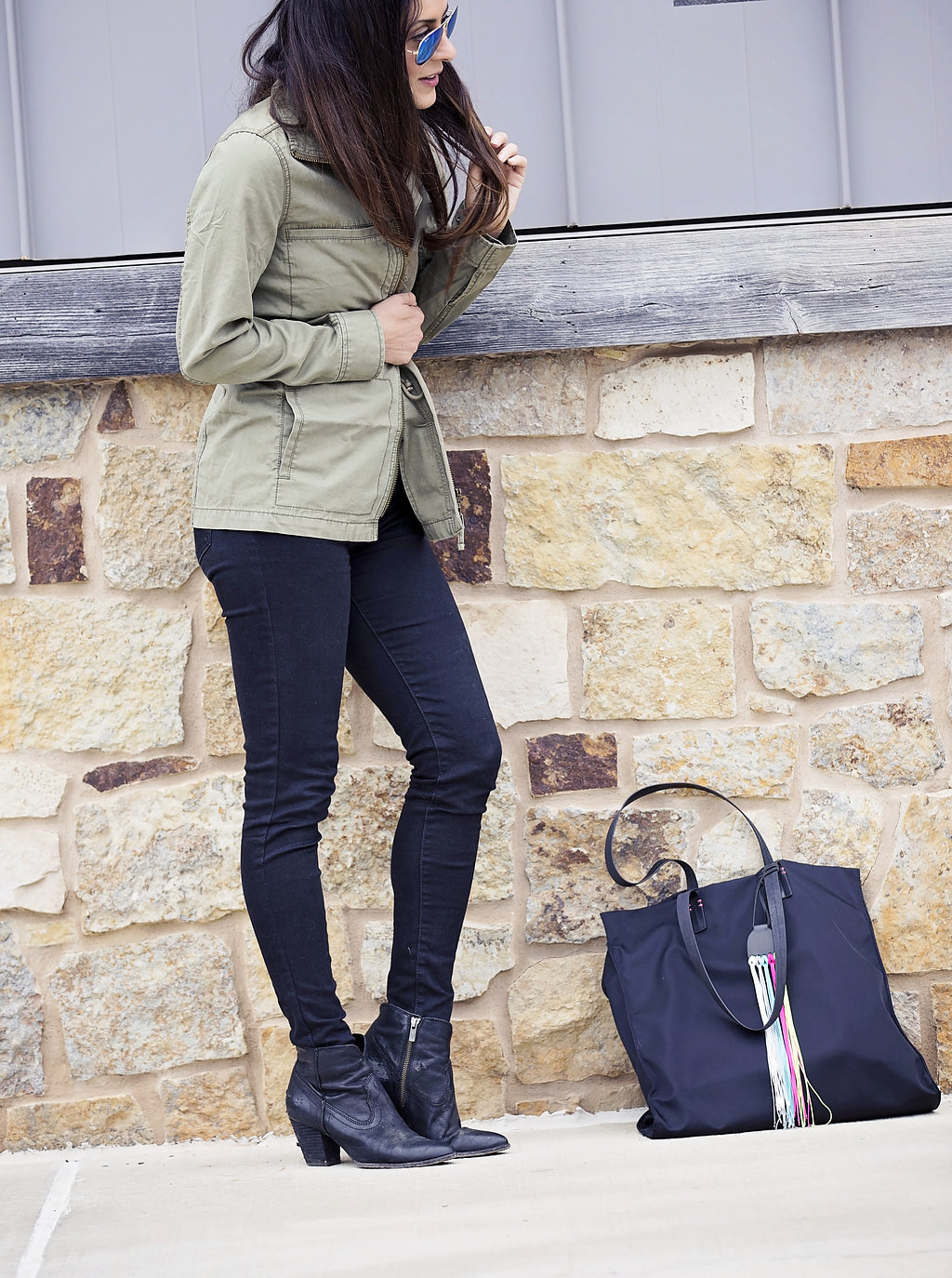 the motherchic wearing madewell military jacket