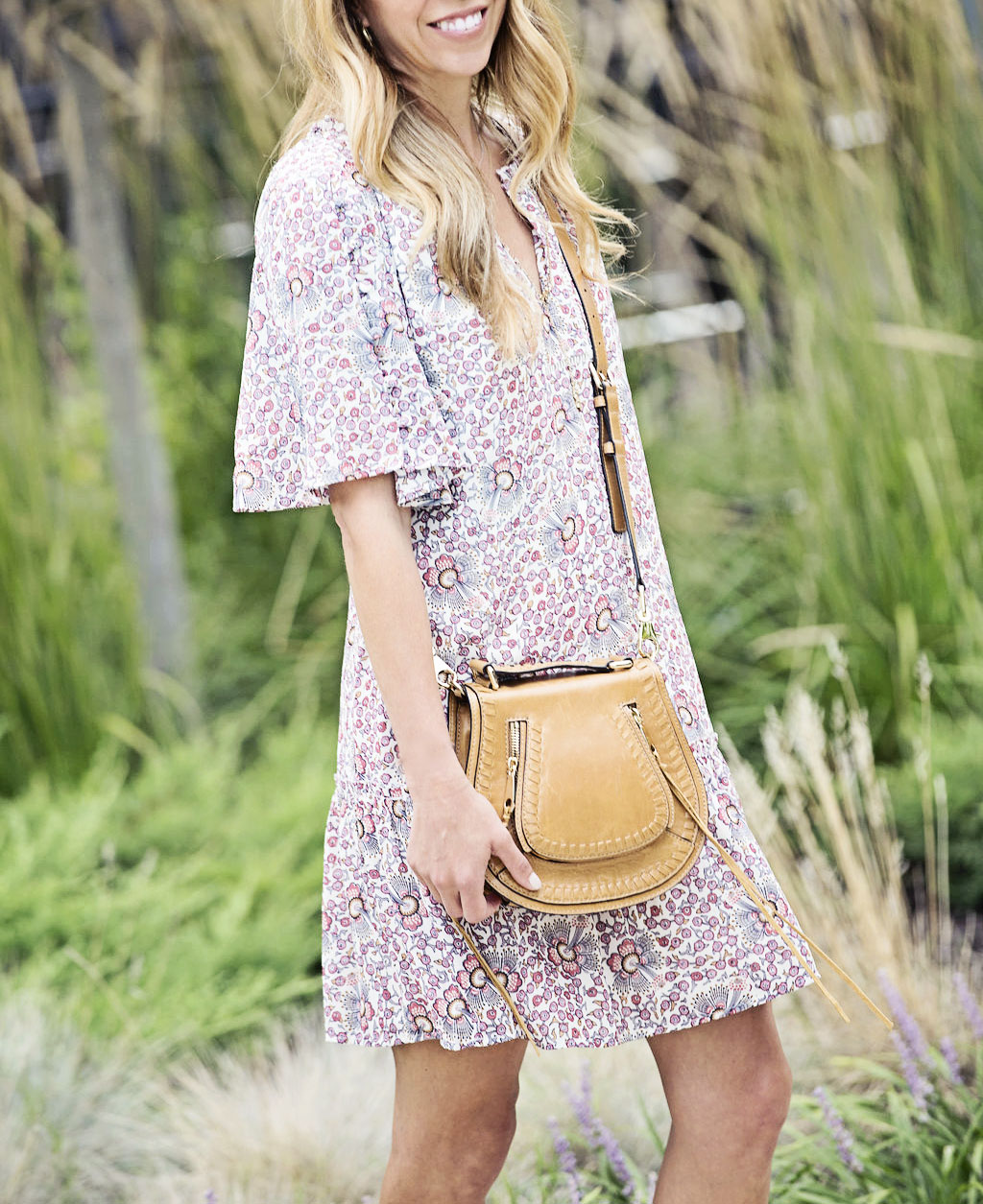 the motherchic wearing loft floral dress