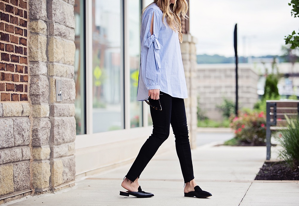 2f7af241587ece the motherchic wearing nordstrom bow sleeve top and paige raw hem jeans with  halogen mules